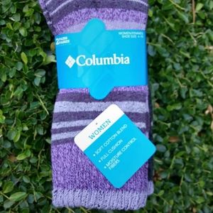Purple, Black, and Gray Columbia Crew Socks